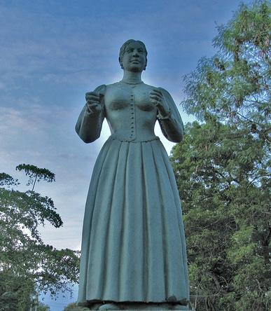 The statue of Gajaman Nona in Nonagama,Tangalle,Sri Lanka